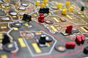 strategy board game being played