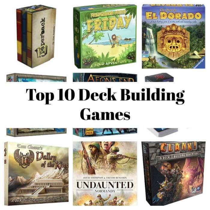 collection of deck building games on collage