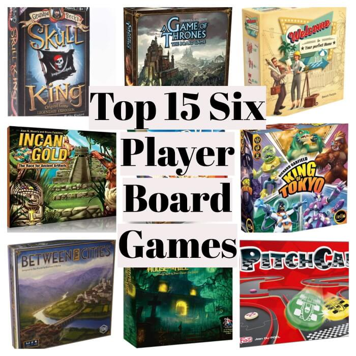 6 player board games collage